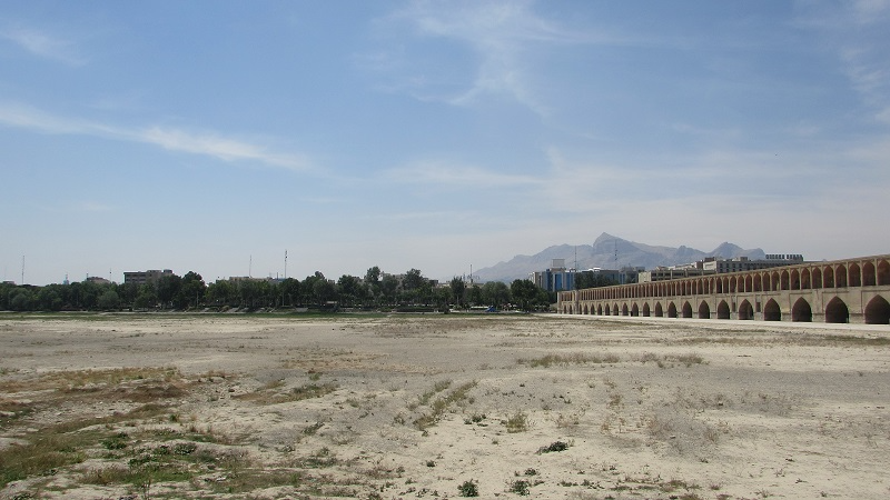 Dried up River Zayandeh in Isfahan, Iran