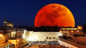 Blood red moon over Jerusalem.