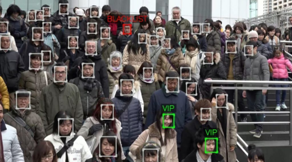 The surveillance state. Camera's everywhere can pick out a face from the crowd.
